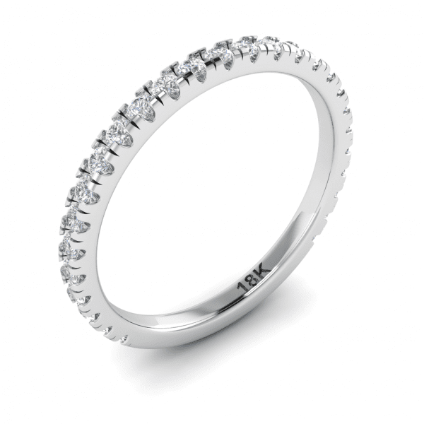 18kt White Gold French Pave Diamond Band